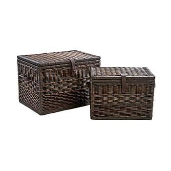 The Basket Lady Deep Wicker Storage Trunk   Wicker Storage Chest, L, Antique Walnut Brown