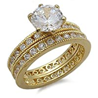 CZ Wedding Rings - Gold Plated Sterling Silver Antique Style CZ Wedding Ring Set