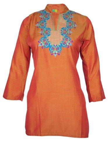 Ladies Indian Embroidered Long Sleeve Kurta-Kurti Tops Orange KL329712-FREE SHIPPING