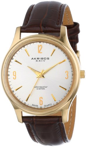 Akribos-XXIV-Mens-AK539YG-Gold-tone-Swiss-Quartz-Brown-Leather-Strap-Watch