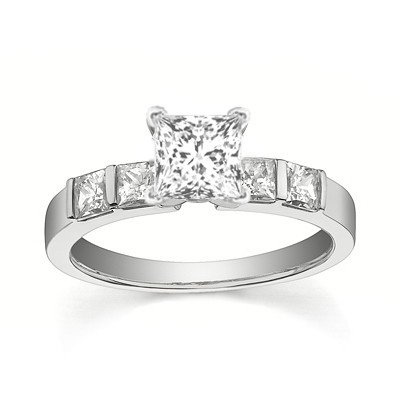 0.58 Carat Diamond Wedding Ring with Princess cut Diamond on 18K White gold