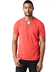 "2"" Longer North Coast Pure Cotton Grandad Mock Layered T-Shirt"
