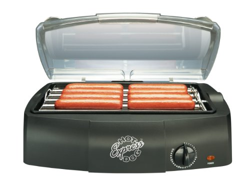 Hot Dog Express Countertop Hot Dog Electric Cooker, Cooks Up To 8 Hot Dogs Sausages, Kielbasa, Hamburgers And More