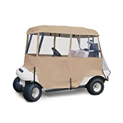 Classic Accessories Fairway Deluxe 4-Sided 2-Person Golf Cart Enclosure, Tan by Classic Accessories
