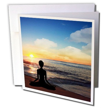 3dRose Yoga Lotus Position on the Beach at Sunset - Greeting Cards, 6 x 6 inches, set of 6 (gc_62907_1) (Yoga Positions Card Set compare prices)