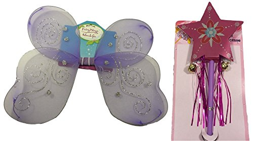 Fairy Wings Wand Set Girls Tinkerbell Halloween Costume Princess Angel Bundle