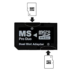 OEM Dual MicroSD to MS PRO DUO Adapter (Black) for Sony PSP, Converts Two MicroSD or MicroSDHC Cards to one Memory Stick Pro Duo Card (Bulk Packaged)