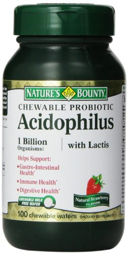 Nature?S Bounty Acidophilus With Lactis Chewable Milk Free Wafers, Natural Strawberry Flavor, 100 Count