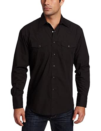 Wrangler Men's Sport Western Snap Shirt,Black,Small