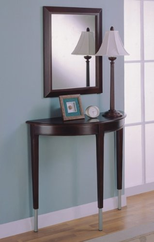 Cheap Contemporary Cherry Finish Entry Way Console Table, Mirror & Lamp Set (VF_900149)