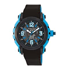 buy Q&Q Attractive Ion-Plated See Through Mechanic Skeleton Dial Turquoise Blue & Black Case