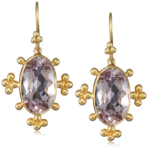 Lauren Harper Collection Sugar Buzz 18k Gold and Faceted Rose de France Oval Earrings