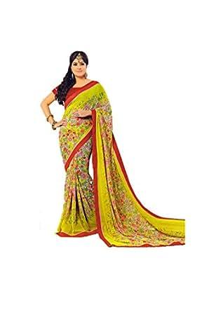 Fancy printed green color georgette printed designer sari for Sari furniture designer