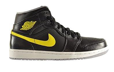 Air Jordan 1 Mid Men's Shoes Black/Vibrant Yellow-Wolf Grey 554724-070 (7.5 D(M) US)