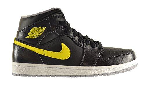 Air Jordan 1 Mid Mens Shoes BlackVibrant Yellow Wolf Grey