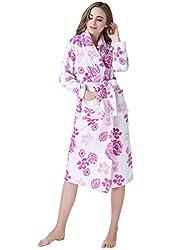 Richie House Womens' Plush Soft Warm Fleece Bathrobe Robe Rh1591