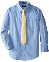 Nautica Dress Up Boys Poplin Shirt And Tie Set
