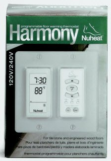 Nuheat Harmony Dual Voltage Floor Heating Programmable Thermostat 120/240V Gfci Flush Mount To Wall For Decora Style