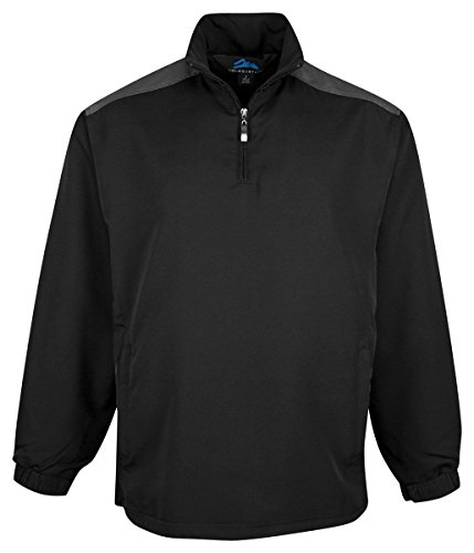 Tri-Mountain Men'S All Seasons 1 4 Zip Windshirt_Black/Charcoal_Large front-731703