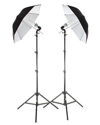 """Studiopro 850W Photography Portrait Studio Continuous Lighting 7'6"""" Light Stand Two Light Black On White Umbrella Kit With Two 85W Cfl Bulbs"""