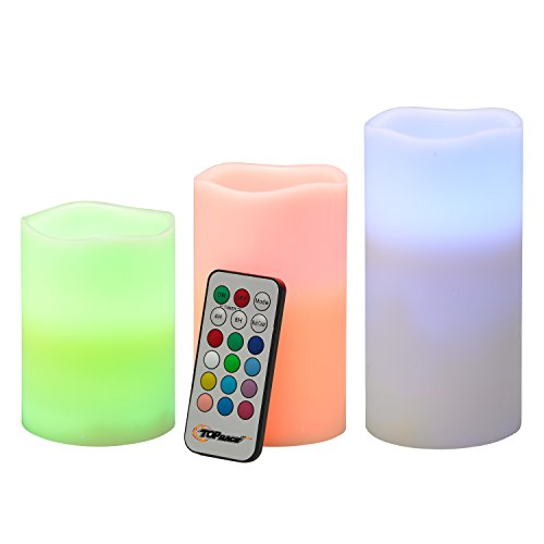 Top Race® LED Color Changing Real Wax Candles, Flameless Weatherproof Candle Lights with Remote & Timer - 3 Piece Set (Non Scented)