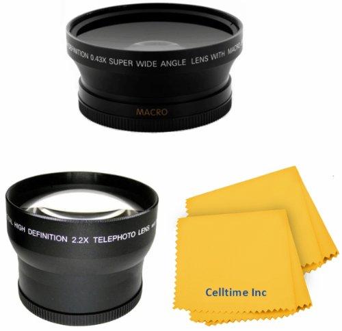 52Mm Vivitar 2.2X Telephoto And 0.43X Wide Angle High Definition W/ Macro Portion Lenses For Nikon Dslr (D5200 D5100 D5000 D3300 D3200 D3100 D3000) + Celltime Elite Cleaning Cloth