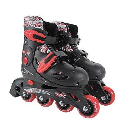 Rollers en ligne ajustables 4 roues pointure 30/33 : Noir