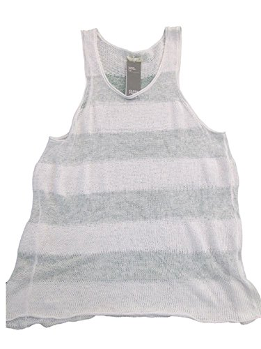Eileen Fisher White Stripe Scoop Neck Fine Gauge Linen Tank Sweater Large