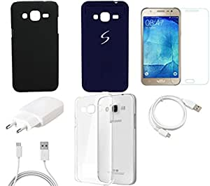NIROSHA Tempered Glass Screen Guard Cover Case Car Charger USB Cable Mobile Holder for Samsung Galaxy J7 - Combo