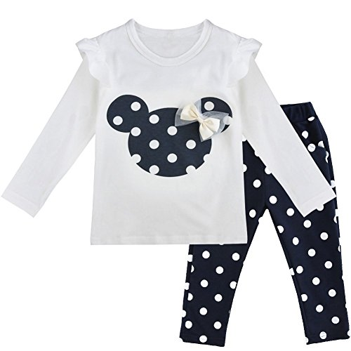 YiZYiF Baby Girls' Long Sleeve T-Shirt Top with Pants 2 Pieces Dress Up Outfits Navy Blue 18-24 Months