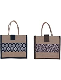 ABV Lunch Bag, Jute Bag, (Black Color)-Pack Of 2 Bags-Designer Printed Bag