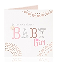 Embossed Baby Girl Greetings Card