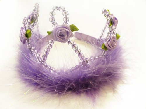 Lavender Feather and Rose Princess Tiara. Perfect Fairy Princess Costume Accessory. Select Color: Lavender