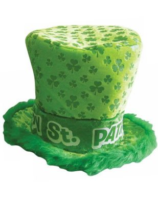 Green Saint Patricks Day Irish Shamrock Furry Top Hat