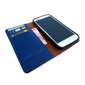 i-KitPit Genuine Leather Wallet Flip Case For Samsung Galaxy S3 Mini (BLUE)