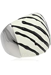 Fashionable Lady's Stainless Steel with Black and White Zebra Prints Ring, Size 7