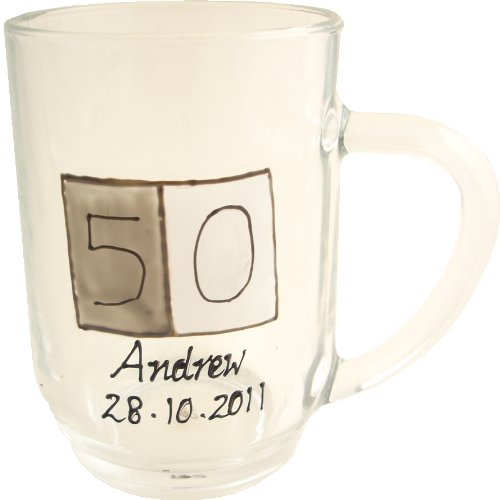 PERSONALISED 50th Birthday Gift Glass Tankard(Sq) MAXIMUM 25 CHARACTERS