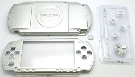 Metallic Silver PSP 1000 Series Full Shell Cover Housing Replacement with Button Set