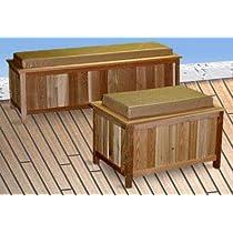 Cedar Storage Bench-Outdoor Ready-With Cushion (Cedar w/ Natural Cushion) (Long - 18