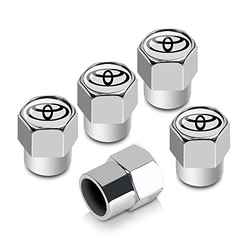Toyota Logo Chrome ABS 5 Tire Stem Valve Caps (Tire Caps Valve Toyota compare prices)