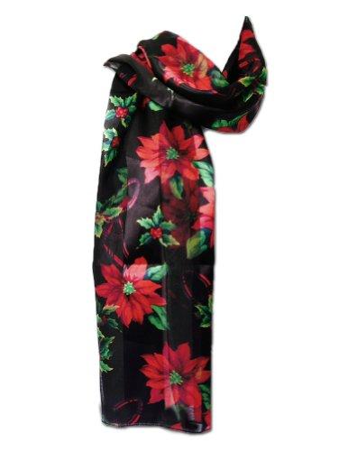 New Company Womens Christmas Poinsettia and Mistletoe Scarf - Black - One Size