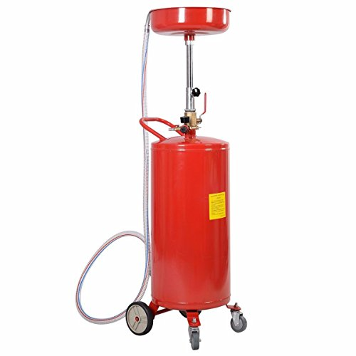 20 Gallon Waste Oil Drain Capacity Tank Air Operate Drainer Portable Wheel Hose Standard Shop Air Pressure Quickly Empty Used Fluids From The Storage Tank