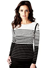 Per Una Speziale Striped Colour Block Top