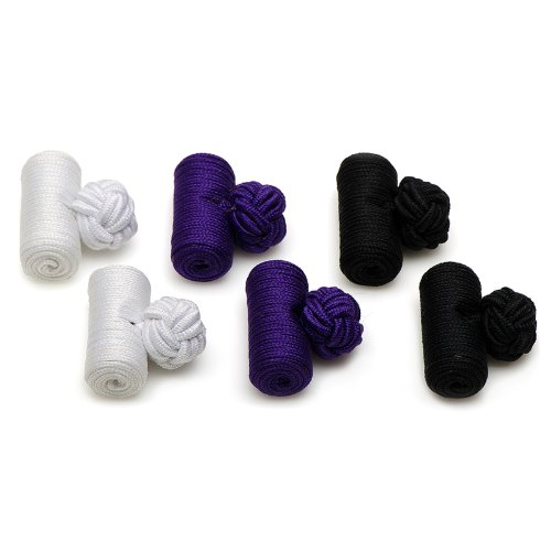 Ox And Bull Mens Silk Tigers Barrel Knot Cufflinks Purple
