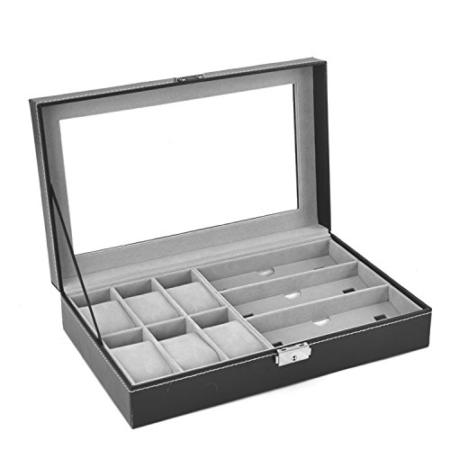 Autoark AW-004 Black Leather 6 Watch Box Jewelry Case and 3 Piece Eyeglasses Storage and Sunglass Glasses Display Case Organizer (Eyeglasses Display Case compare prices)