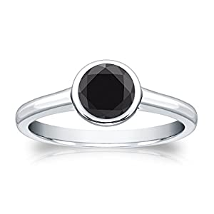Platinum Round-cut Black Diamond Bezel Solitaire Ring (1/4 cttw, Black color), Size 9