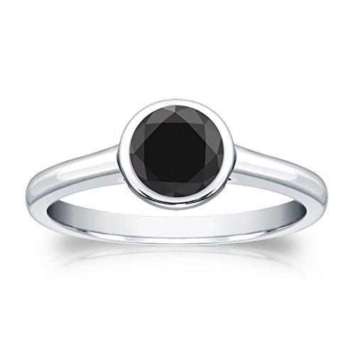 14K White Gold Round-Cut Black Diamond Solitaire Ring Bezel Set (1/2 Cttw, Black), Size 4.5