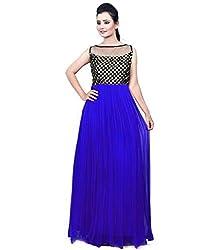 Clickedia Women & Girls Beautiful Royal Blue & Black Semi Stitched Net Gown