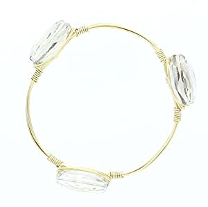 Womens Gold Wire Bangle with Faceted Three Black Diamond Glass Beads