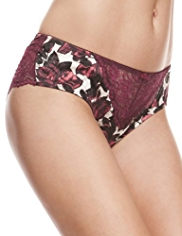 Rosie for Autograph Rose Print Silk Brazilian Knickers with French Designed Rose Lace